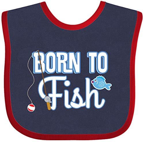 Inktastic - Born To Fish Go Fishing Baby Bib Navy and Red 2f8fe ()