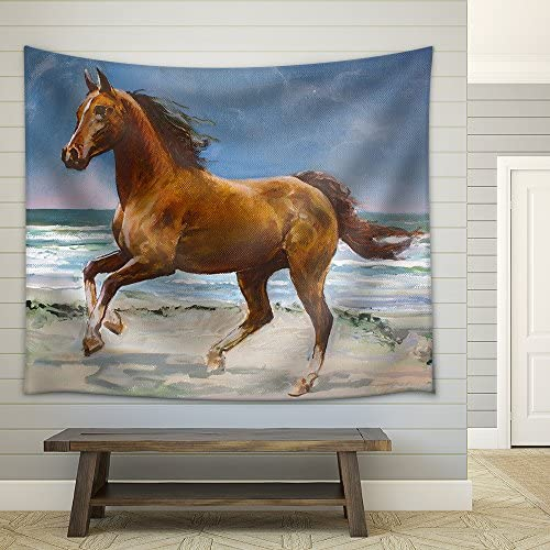Chestnut Horse Galloping on Shore Fragment of Painting Fabric Wall