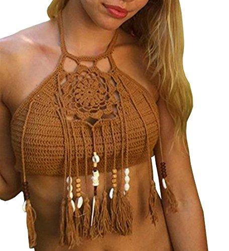Ebetterr Women's Crochet Halter Bikini Bra Bralette Crop Top Brown