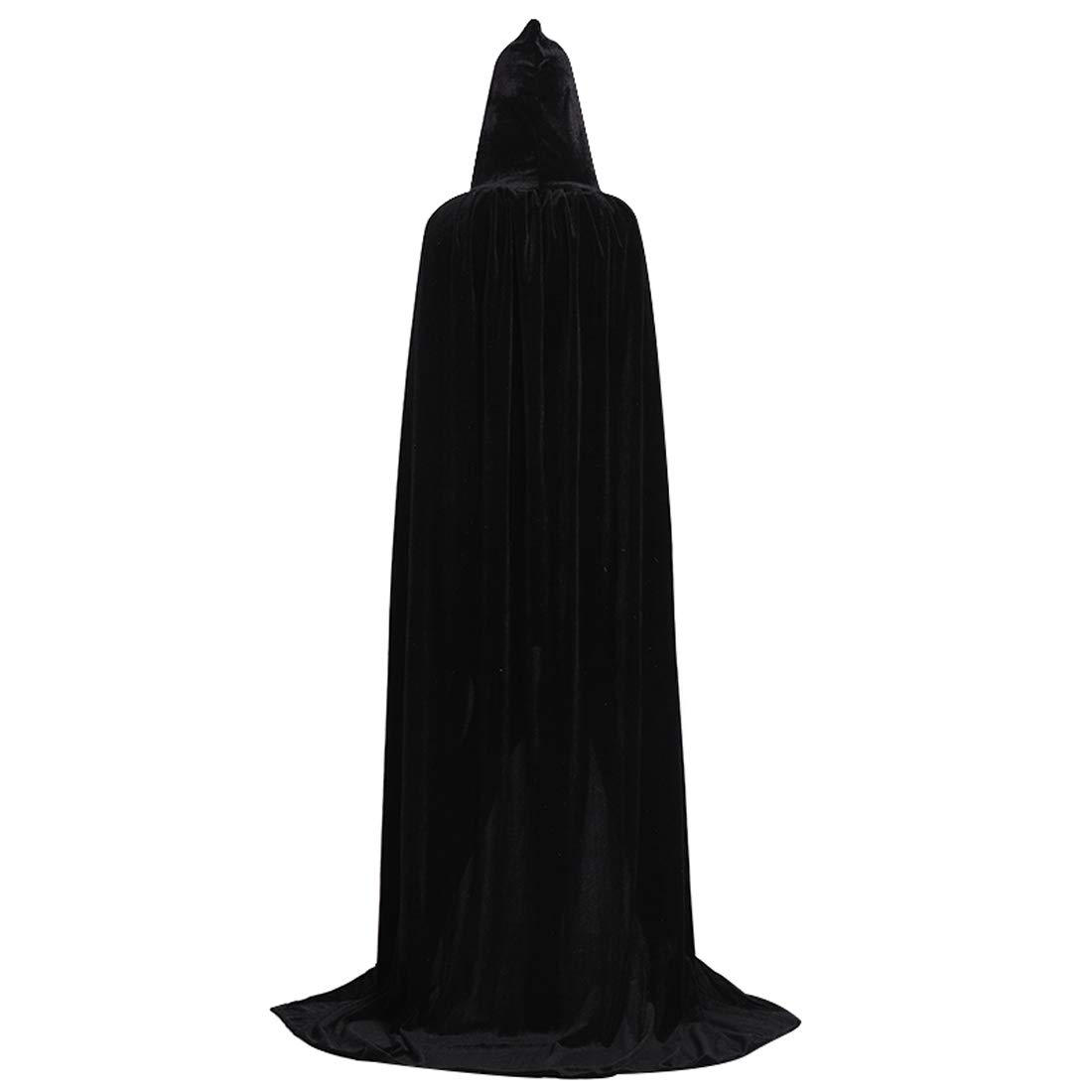 Wgior Unisex Death Hooded Cloak Full Long Velvet Cape for Halloween Costume Masquerade Cloak (M, Black)