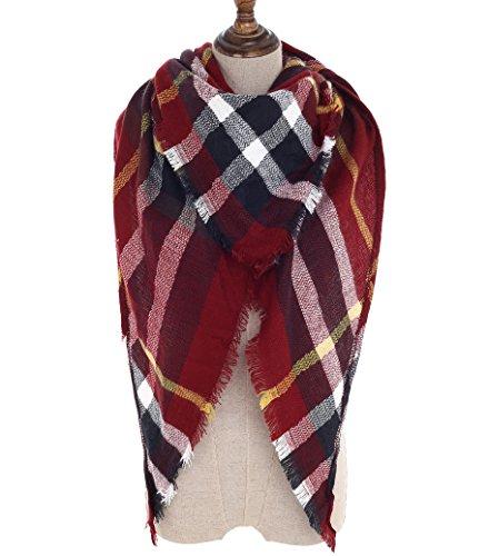 Women Plaid Blanket Scarf Wrap Shawl Big Triangle Scarves Warm Tartan Gorgeous Shawl (Red (Big Triangle)