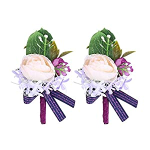 Febou Wedding Wrist Corsage Boutonniere for Bride Bridemaids 9