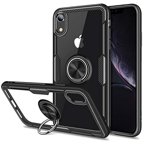 Vofolen Clear Armor for iPhone XR Case Ring Holder Kickstand 360 Rotational Clip Holster Flexible Rubber Bumper Slim Fit Crystal Transparent Hard Protective Back Cover for iPhone XR 10R (Black) (Mobile Phone Back Cover)