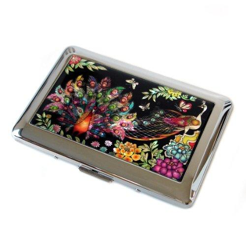 (Antique Alive Mother of Pearl Peacock Design Engraved Metal Cigarette Holder Case)
