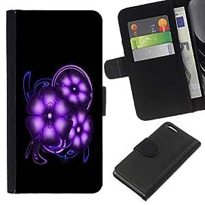 Planetar® Modelo colorido cuero carpeta tirón caso cubierta piel Holster Funda protección Para Apple iPhone 5C ( Purple Space Flowers )