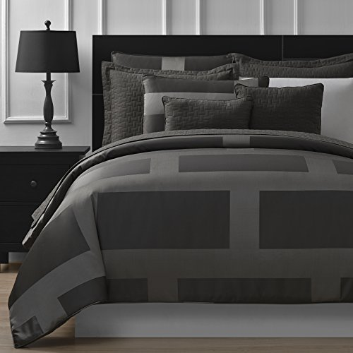 Comfy Bedding Frame Jacquard Microfiber King 5-piece Comforter Set, Gray 5 Piece King Comforter