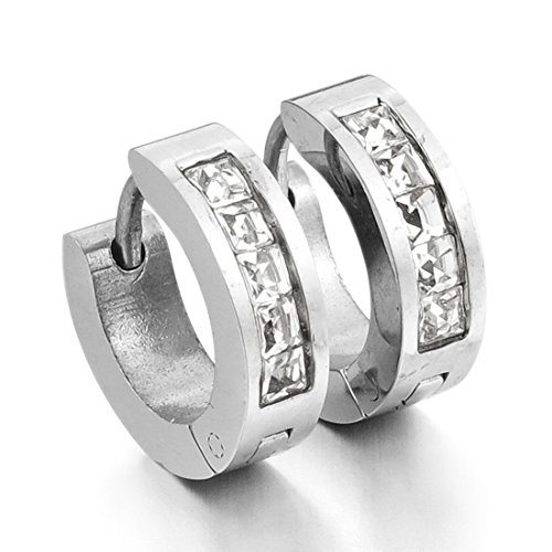 INBLUE Womens Stainless huggie Earrings
