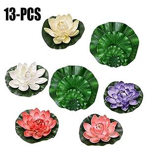 Outgeek 5PCS Artificial Lotus Flower Decorative Foam Fake Floating Flower with 8PCS Fake Lotus Leaves 113