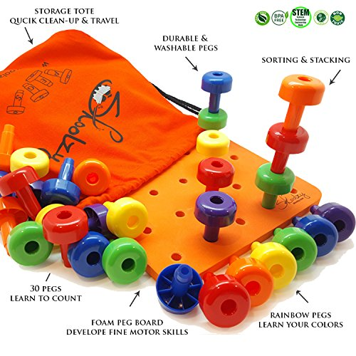 Sorting Pegboard Toys Kids Child Play 30Pegs Color Recognition Game Learning
