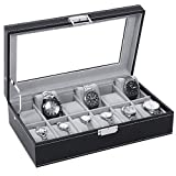 Watch Box 12 Slot Watch Display Storage Case for Men Women Watch Organizer with Metal Hinge - Large Glass Top - Velvet Pillows - Black PU Leather SSH03B