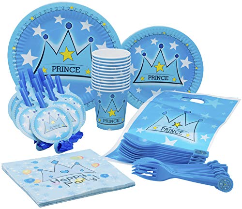 Little Prince Theme Party Pack - Disposable Paper Plates, Cups, Napkins, Forks, Spoons, Gift Bags and Party Blowers - Serves 10 -