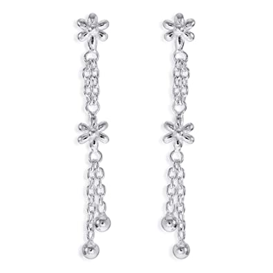 a6af8c6f5 Buy Taraash 925 Sterling Silver Floral Shape Drop Earrings For Women  CBER375I-04 Online at Low Prices in India | Amazon Jewellery Store -  Amazon.in