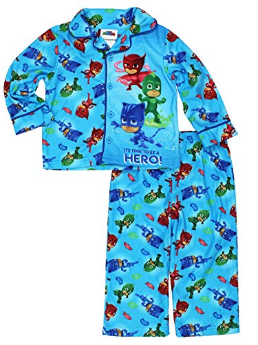 Flannel Coat Style Pajamas - Disney Junior PJ Masks Little Boys Flannel Coat Style Pajamas (2T, Hero Blue)