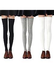 Chalier 3 paires Chaussettes Hautes Montantes Femme Chaussettes de Genoux Longues Style Simple