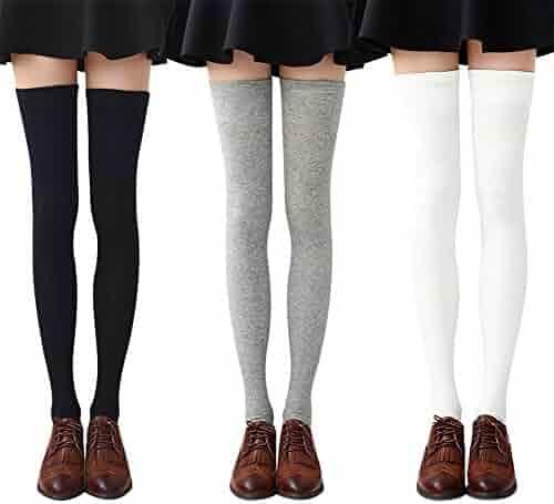 a290a6266e8 Chalier Womens Long Socks Striped Thigh High Socks Cotton Over the Knee  Socks Boot Stockings Leg