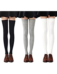 2bba7ea1a2a29 Womens Long Socks Striped Thigh High Socks Cotton Over the Knee Socks Boot  Stockings Leg Warmers