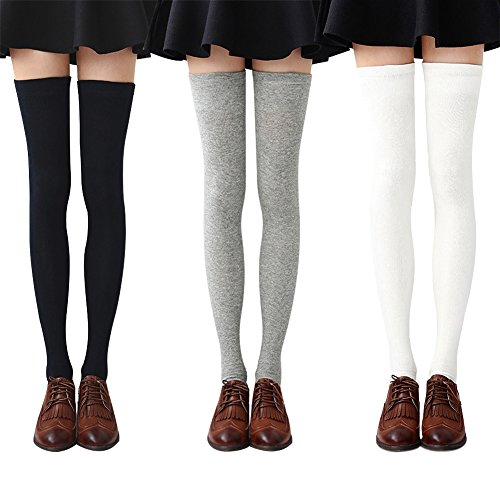 Chalier Womens Long Socks Striped Thigh High Socks Cotton Over the Knee Socks Boot Stockings Leg -