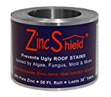 "Set of 2 - ZincShield Pure Zinc Strips and Nails Installation Kit to Avoid Ugly Roof Stains from Moss, Algae, Fungus, and Mildew (2.5"" Roll + Nails (2 Sets)) Made in the USA"