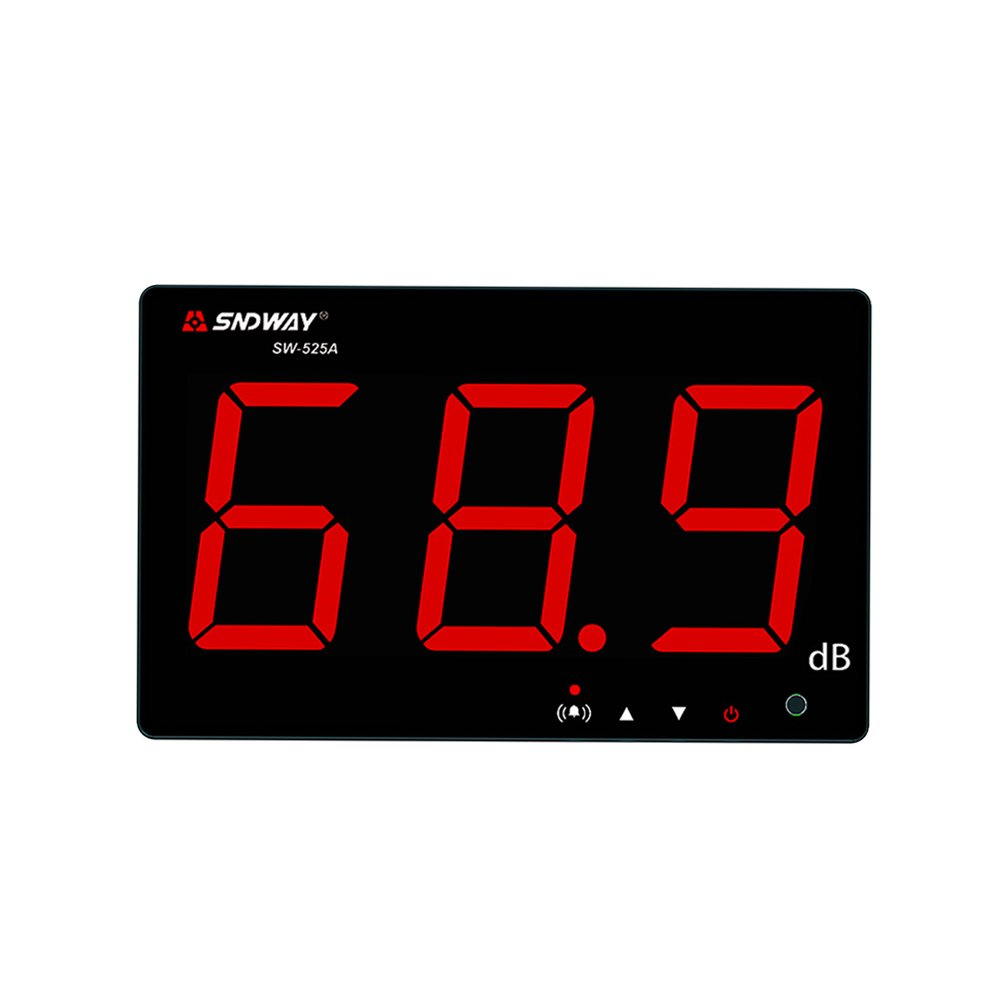 SNDWAY SW-525 Digital Sound Level Meter 40 to 130db 9.7'' Large LCD Wall Hanging Type Decibel Meter with Alarm (SW-525A)