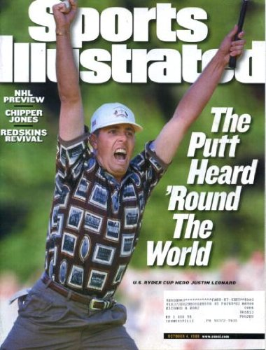 Sports Illustrated October 4 1999 Justin Leonard/U.S. Ryder Cup Winner on Cover, NHL Preview, Chipper Jones/Atlanta Braves, University of Colorado Football, Brad Johnson/Washington Redskins (Justin Cup Leonard Ryder)