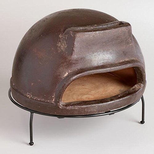 Terracotta Pizza Oven Handcrafted Of Terracotta With Brown Finish And Metal Grill Stand Outdoor Handmade