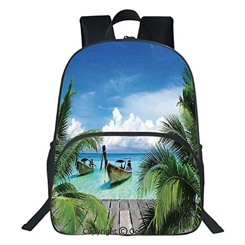 (Oobon Kids Toddler School Waterproof 3D Cartoon Backpack, Beach and Tropical Sea Wooden Deck Floating Boats Sunshine Honeypot, Fits 14 Inch Laptop)