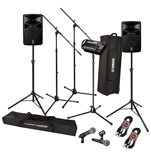 Yamaha StagePAS 400i Portable PA System Bundle with Pure Resonance Audio UC1S Microphones, Stands and Accessories - Portable PA System (10 Items)