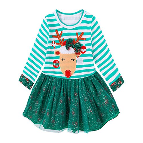 Jujunx Christmas Toddler Kids Baby Girls Deer Striped Princess Dress Outfits Clothes (4 years old, Green) (Kids Princess Outfit)