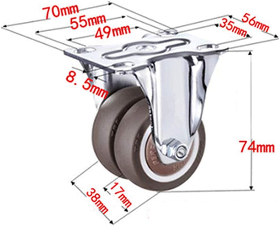 1.5//2-Inch 240 Kg Load Capacity Heavy Duty Rubber Caster Wheel with Rigid Non-Swivel Top Plate