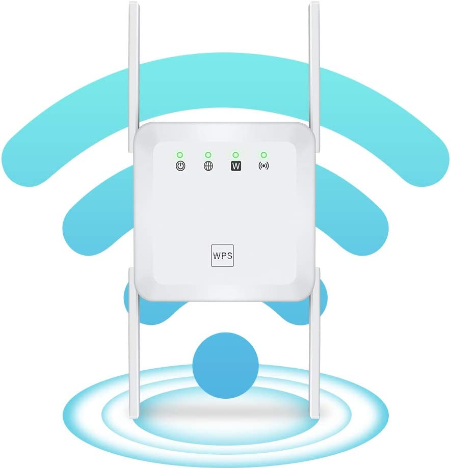 1200Mbps WiFi Range Extender Wireless Signal Repeater Booster, Dual Band Expander, 4 Antennas 360° Full Coverage, Extend WiFi Signal to Smart Home & Alexa Devices (white1)