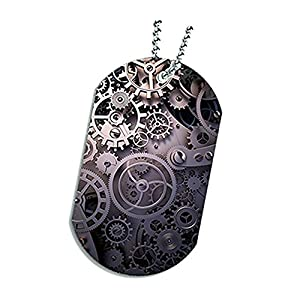 Space Case Dog Tag Pendant Necklace – Steampunk Gear Wheels