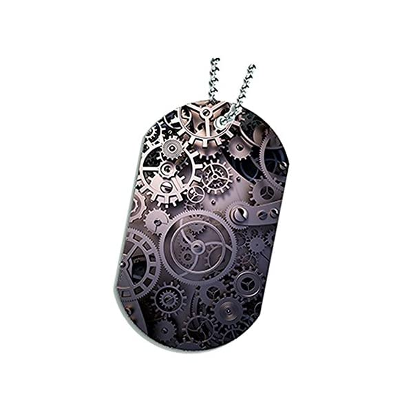 Space Case Dog Tag Pendant Necklace - Steampunk Gear Wheels 3