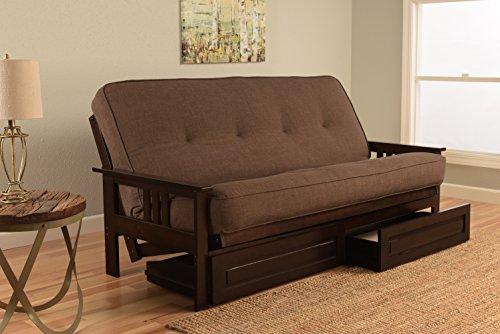 Kodiak Furniture KFMODEPLCOCLF5MD4 Monterey Futon Set with Espresso Finish and Storage Drawers, Full, Linen Cocoa (Cocoa Full Sleeper)
