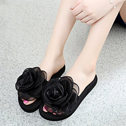 De Black Orange Ultraligeras Sandalias 41 Summer Chanclas Antideslizantes Beach Rose Mujer Flowers dwwfqHPAx