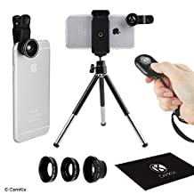 Universal 3in1 Camera Lens Shutter Remote & Tripod Kit for Smartphones, including Bluetooth Camera Shutter Remote, Fish Eye, 2in1 Macro and Wide Angle, Lens Clip, Tripod, Phone Holder, Bag and Cleaning Cloth