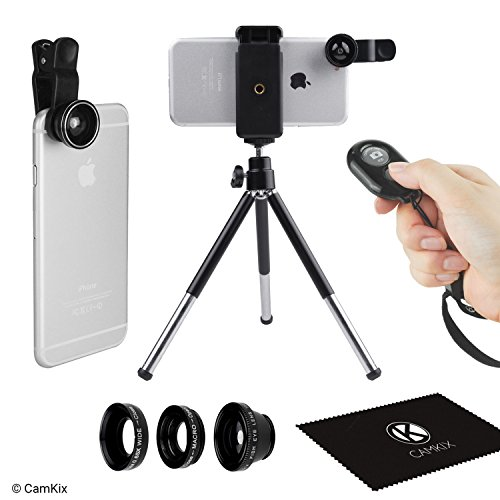 Smartphone Accessory Bundle Kit (Universal 3in1 Camera Lens Shutter Remote + Tripod Kit for Smartphones, including Bluetooth Camera Remote, Fish Eye, 2in1 Macro and Wide Angle, Lens Clip, Tripod, Phone Holder, Bag and Cleaning Cloth)
