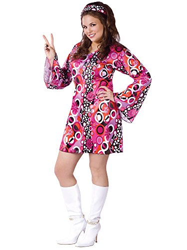 Groovy Girl Costume (Feelin' Groovy Adult Costume - Plus Size 1X/2X)