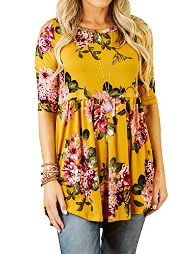 DAMISSLY Women's Floral 3/4 Sleeve Round Neck Babydoll Print Basic Casual Tank Tops Tunic(Mustard, S)