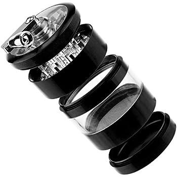 Formax420 Handle Herb Grinder Tobacco grinder 4 Parts 2.5 inch (black)