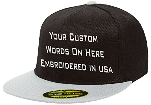 - Custom Flexfit 210. Personalized Hat. Embroidered. Your Text.Fitted Flat Bill (Black/GreyBill, 7 1/4-7 5/8 (L/XL))