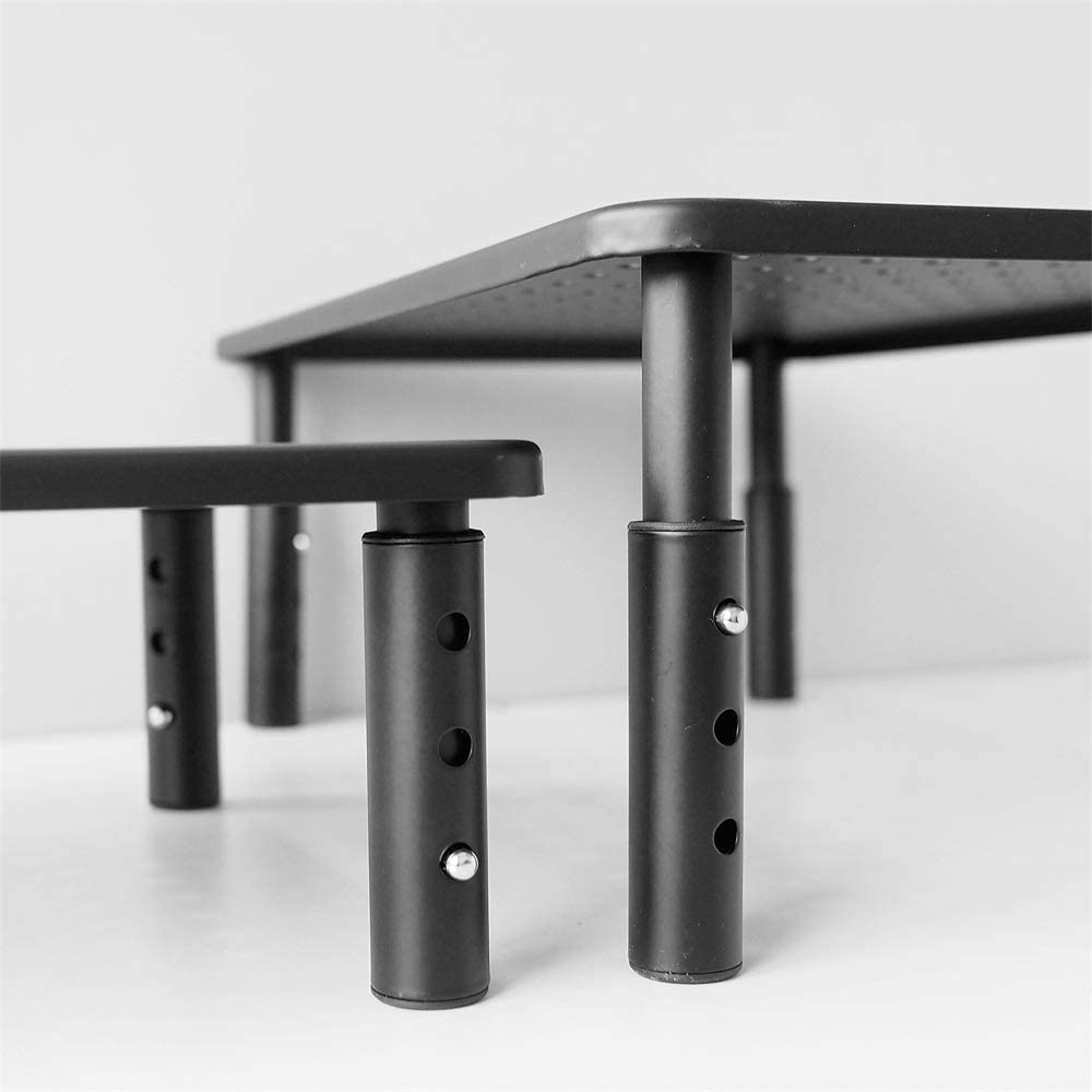 Support en métal pour moniteur de bureau, 3 hauteurs réglables Noir
