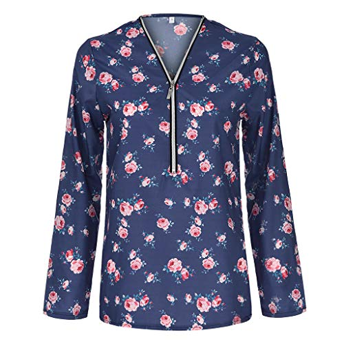 (RAINED-Women's 3/4 Sleeve Roll up Shirts Half Zip up Floral Printed Casual Tunic Blouse Tops Sexy V Neck Swing Top Shirt Blue)