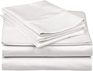 Bed Sheet Set 4Piece - 500 Thread Count 100% Egyptian Cotton Sheets - Fits Mattress Upto 15'' Deep Pocket - Queen, White Solid