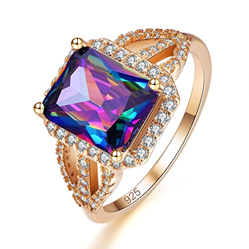 Psiroy Yellow Gold Plated Created Rainbow Topaz Halo Engagement Ring Size 7 (Rainbow Topaz Engagement Rings)