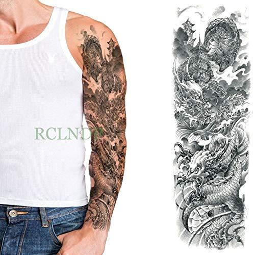 ljmljm 3pcs Tatuaje Impermeable Etiqueta cráneo Brújula Flor ...