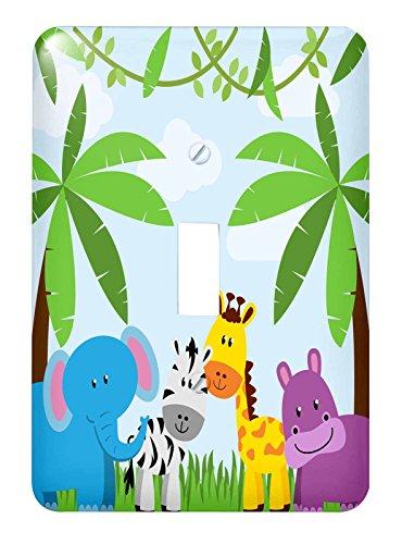 3dRose lsp_222359_1 Cute Jungle Animals Scene Single Toggle - Animal Switch