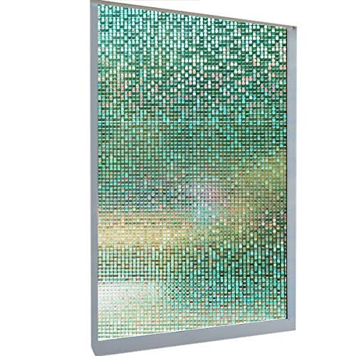 Irridescent Natural - DekorFix Translucent Window Privacy Film Mosaic Frosted Glass Window Film No Color 3D Static Cling Window Film for Home Office with Anti UV Heat Control 17.7