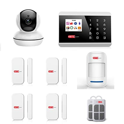 SZABTO Sistema de alarma de seguridad inalámbrica GSM PSTN con 4 detectores de puerta de ventana
