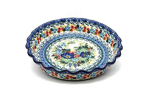 (Polish Pottery Baker - Pie Dish - Fluted - Unikat Signature U4695 )
