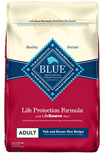 Blue Buffalo Life Protection Formula Adult Dog Food - Natural Dry Dog Food for Adult Dogs - Fish and Brown Rice - 30 lb. Bag